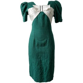 80's Green Cocktail Dress with Large White Bow by Axcess