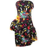 80's Colorful Abstract Print Cocktail Dress by Rizik Brothers