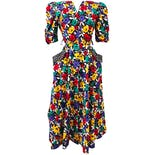 80's Colorful Floral Print Shirtdress
