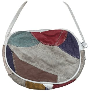 80's Colorful Pleather Patchwork Purse