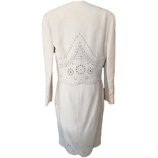 80's Cream Wool Set with Beaded Eyelet Detailing by Valentino