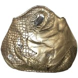 80's Gold Leather Snakeskin Print Bejeweled Purse by Skinart Exclusives