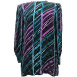 80's Black, Blue and Purple Striped Silk Blouse