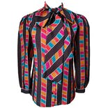 80's Gray and Multi Color Button Up with Neck Bow by Gianna Bellini