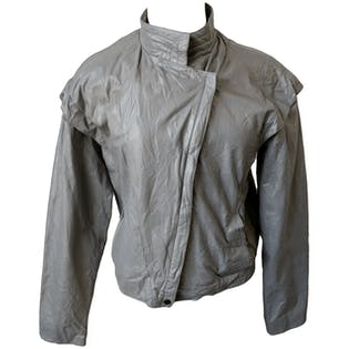 80's Gray Mock Neck Leather Jacket