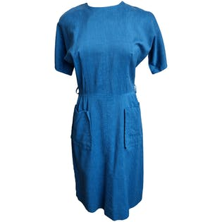 80's Linen Dress with Back Zipby Pat Perkins