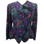 80's Multicolor Floral Print Asymmetrical Button Up Blouse