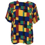 80's Primary Color Geometric Print Blouse by Kathy Che