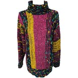 80's Multicolor Oversized Turtle Neck Sweater by Gil Aimbez Knits