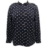80's Navy Blue and White Polka Dot Button Up by Chaus