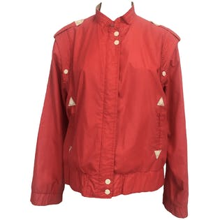 80's Red and White Racer Jacket by Paris III