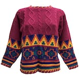 80's Pink Cable Knit Sweater with Multicolor Geometric Pattern by Knitwaves Inc