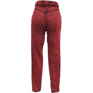 80's High Waisted Red Acid Wash Stretch Skinny Jeans