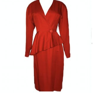 80's Red Blazer and Skirt Set