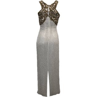 80's Silk Gold Sequin and White Beaded Gown