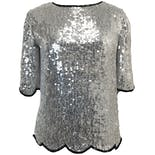 80's Silver Sequin Blouse by Praise Hymn Fashions