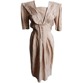 80's Tea Stained Linen Dress by Joanie Char
