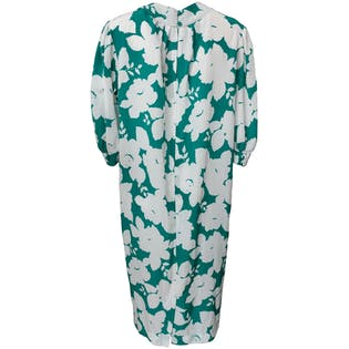 80's Teal and White Floral Midi Dress by Umba For Parnes Feinstein