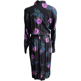 80's V-Neck Dress with Bright Floral by Leslie Fay