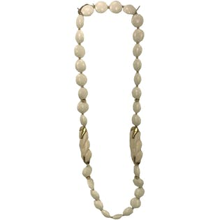 80's White and Gold Circle Beaded Necklace