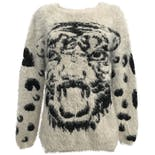 80's Black and White Fuzzy Leopard Graphic Sweater