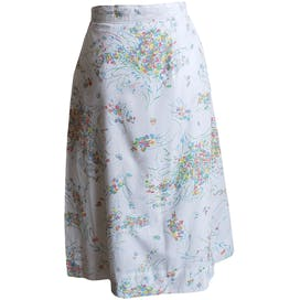 80's White Skirt with Bright Floral Pattern