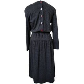 80's Woven Long Sleeve Dress