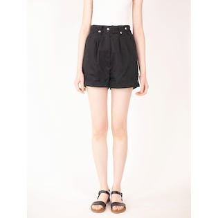 80's High Waisted Black Shorts by Fox Hollow