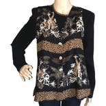90's Giraffe and Leopard Print Shirt and Matching Vest Set by Jones Sport Of Dallas