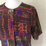 another view of 90's Abstract Patterned Blouse by Bora Bora