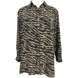 90's Silk Zebra Print Button Up Blouse