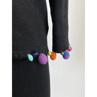 90's Black Knit Skirt Set with Knitted and Beaded Ornaments by Michael Simon