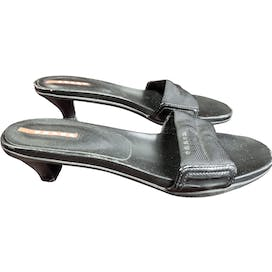 90's Black Kitten Heel Mules by Prada Sport