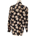 another view of 90's Black Silk Pocket Watch Print Button Down Blouse by Ann Taylor Studio