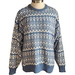 90's Blue Patterned Grandpa Sweater by Claybrooke
