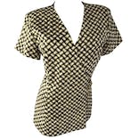 90's Brown and Cream Lattice Print Wrap Top by Madrigano Suits Paris-New York- Milan