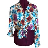 90's Button Down Multicolor Summer Floral Blouse by Alfred Dunner