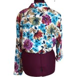 another view of 90's Button Down Multicolor Summer Floral Blouse by Alfred Dunner