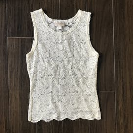 90's Ivory Lace Sleeveless Top by Victoria's Secret Gold Label
