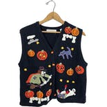 90's Halloween Print Knit Sweater Vest by Lord + Taylor