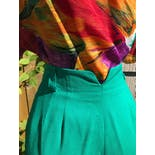 another view of 90's Colorful Abstract Polyester Short Sleeved Blouse by Hana Sung