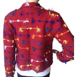 another view of 90's Colorful Woven String Jacket by Kindred Spirit