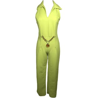 90's Lime Green Collared Jumpsuit with Mod Faux Tortoise Belt by Suzy Phillips