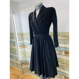 90's Lurex Long Sleeve Wrap Dress with Full Pleated Skirt by Halston