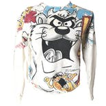 90's Multicolor Graphic Looney Tunes Fitted Pullover by Ssi