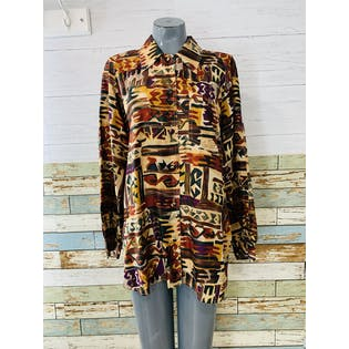 90's Multicolor Silk Button Up by Tess