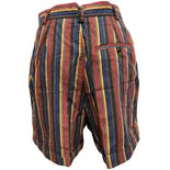 another view of 90's Multicolor Vertical Stripe High Waisted Shorts by Lizsport