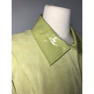 90's Pale Green Suede and Patent Leather Jacket by Bradley By Bradley Bayou