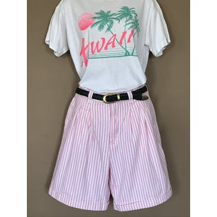90's Pink and White Stripe Pleaded High Waisted Shorts by Lee