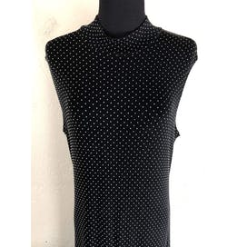 90's Polka Dot Sleveless Turtleneck Maxi Dress by Ronni Nicole